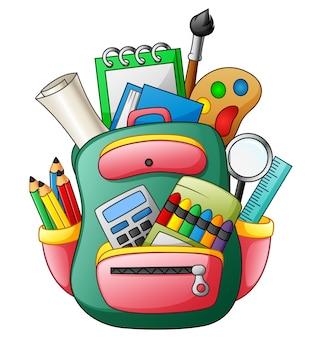 Ilustração em vetor de saco de escola com material escolar