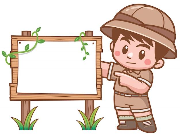 Ilustração em vetor de safari boy em pé com placa de madeira