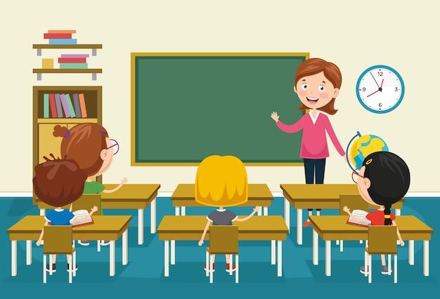 Ilustração em vetor de sala de aula