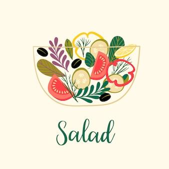 Ilustração em vetor de salada de legumes