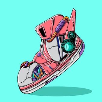 Ilustração em vetor de sapatos cyberpunk