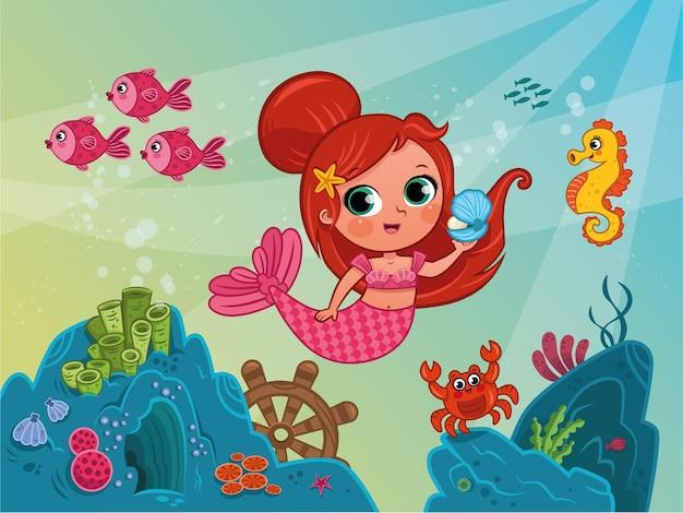 Ilustração em vetor de sereia no fundo do mar