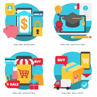 Ilustração em vetor de serviços bancários on-line, educação, compras, entrega