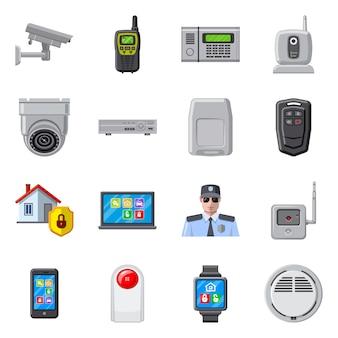 Ilustração em vetor de símbolo de escritório e casa. conjunto de conjunto de escritório e sistema