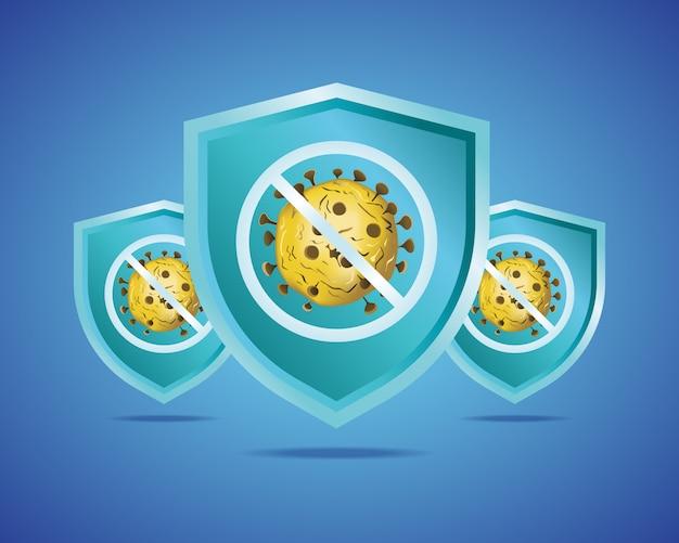 Ilustração em vetor de símbolo de escudo e vírus para uma campanha de proteção contra vírus
