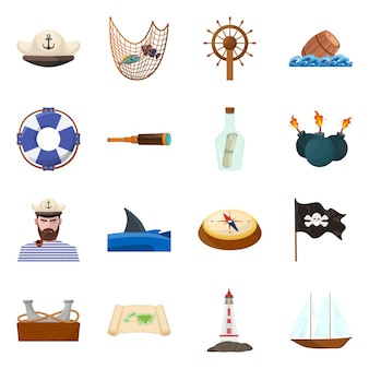 Ilustração em vetor de símbolo marinho e de aventura. conjunto de conjunto marinho e oceano