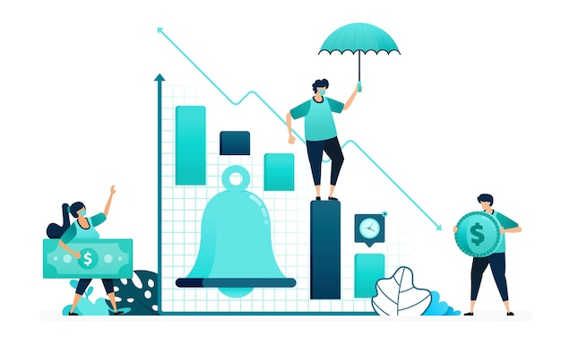 Ilustração em vetor de sino na análise financeira do gráfico. lembretes de notificações para cima e para baixo no estoque do mercado. trabalhadores femininos e masculinos. projetado para site, web, página de destino, aplicativos, ui ux, pôster, folheto