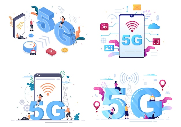 Ilustração em vetor de smartphone de tecnologia sem fio de rede