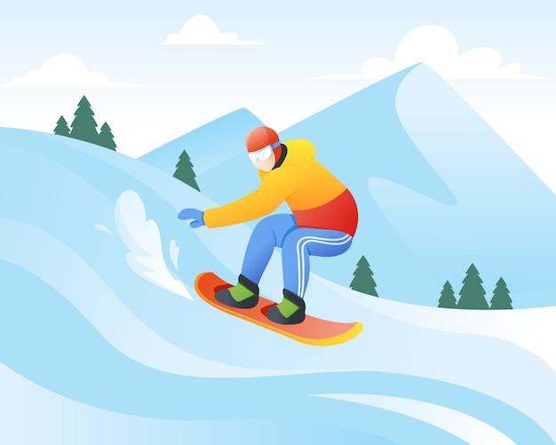 Ilustração em vetor de snowboarder