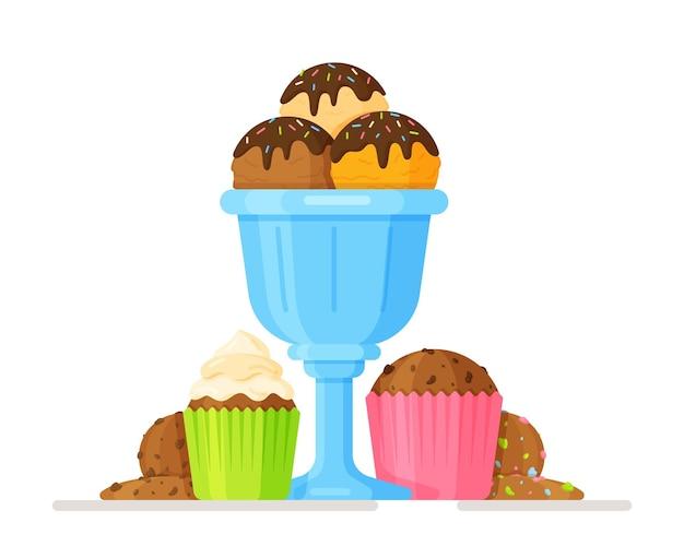Ilustração em vetor de sorvete em um copo azul, cupcakes e biscoitos