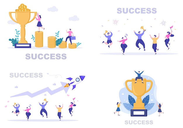 Ilustração em vetor de sucesso de atingir a meta