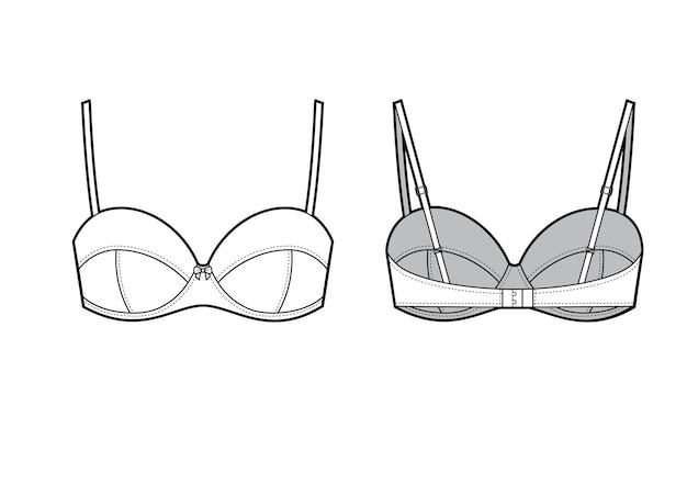 Ilustração em vetor de sutiã de cueca feminina, vista frontal e traseira