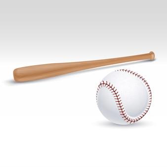 Ilustração em vetor de taco e bola de beisebol