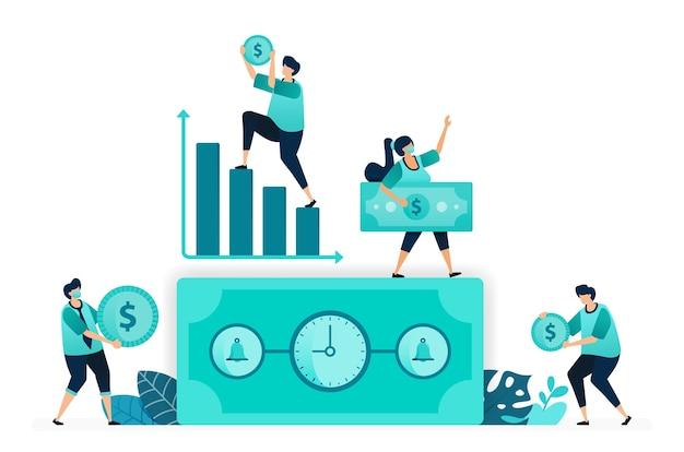 Ilustração em vetor de tempo é dinheiro com relógio. sino na nota de dólar. gráfico crescente, tempo de trabalho, renda. trabalhadores femininos e masculinos. projetado para site, web, página de destino, aplicativos, ui ux, pôster, folheto