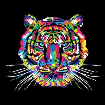 Ilustração em vetor de tigre colorido