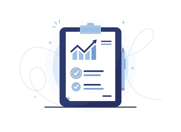 Ilustração em vetor de transferência da lista de análise com caneta. documente com uma programação de vendas. estatísticas, aumento. curva de vendas. folha de relatório. caderno azul, tablet. marca de verificação