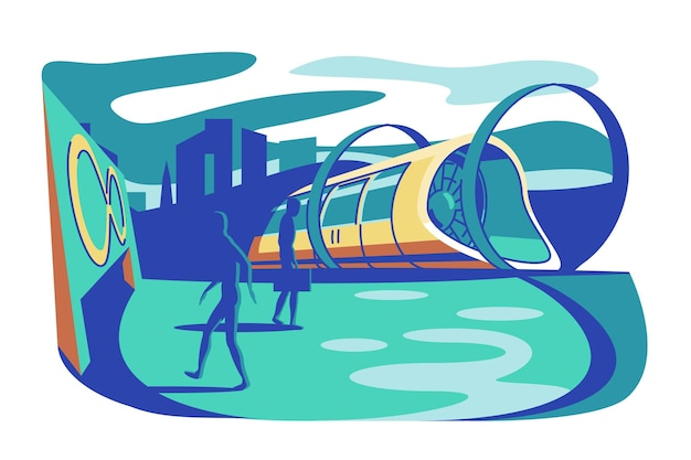 Ilustração em vetor de trem futurista de alta velocidade hyperloop transporte expresso futuro com conceito de tecnologias de transporte de ideia da moda de passageiros