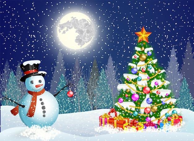 Ilustração em vetor de um boneco de neve bonito decorando uma árvore de natal. conceito de saudação ou cartão postal. fundo de paisagem de inverno de ano novo e natal