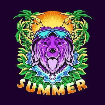 Ilustração em vetor de um cachorro nadando no verão