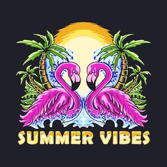 Ilustração em vetor de um casal de flamingos de verão