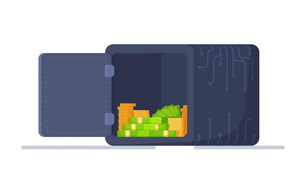 Ilustração em vetor de um cofre aberto com dinheiro dentro