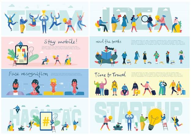 Ilustração em vetor de um conceito de escritório. pessoas de negócios em estilo simples. mantenha-se móvel, educação on-line, start-up e trabalho em equipe conceito de negócio