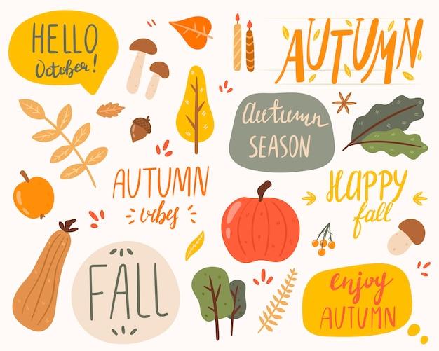 Ilustração em vetor de um conjunto de adesivos sobre o tema do outono. inscrições e objetos da natureza. decorações de outono.