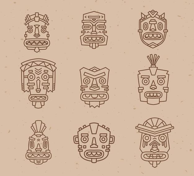 Ilustração em vetor de um conjunto de máscaras coloridas tribais étnicas em fundo de textura de areia clara.