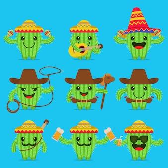 Ilustração em vetor de um conjunto de personagens de cactos mexicanos com vários estilos e expressões