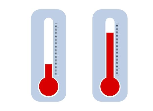 Ilustração em vetor de um conjunto de termômetros internos ou externos com baixa e alta temperatura