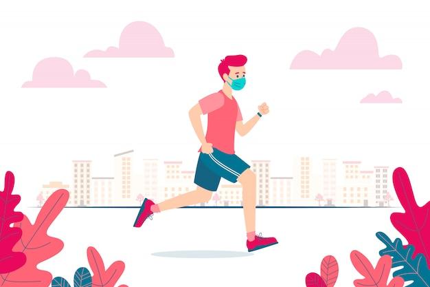 Ilustração em vetor de um corredor usando uma máscara facial por causa do coronavírus e do novo normal