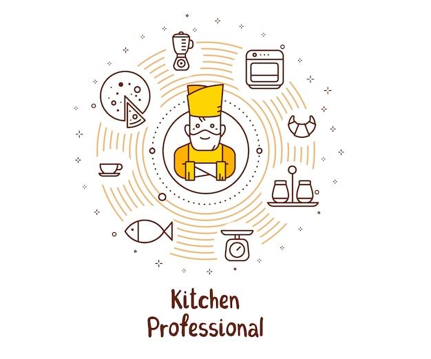 Ilustração em vetor de um cozinheiro chefe de homem em um chapéu de chef com ícones de comida e inscrição.