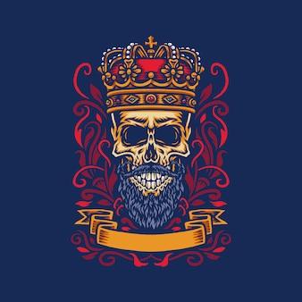 Ilustração em vetor de um crânio barbudo usando a coroa de um rei