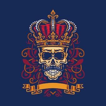 Ilustração em vetor de um crânio de bigode usando a coroa do rei