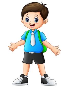 Ilustração em vetor de um desenho de menino bonito acenando