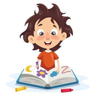 Ilustração em vetor de um garoto coloring book