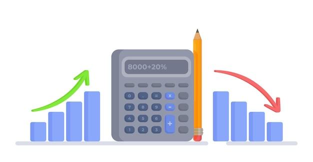 Ilustração em vetor de um gráfico da ascensão e queda das finanças finanças domésticas e impostos