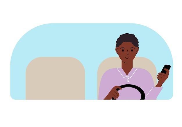 Ilustração em vetor de um homem com uma das mãos controla um carro e um telefone celular na outra