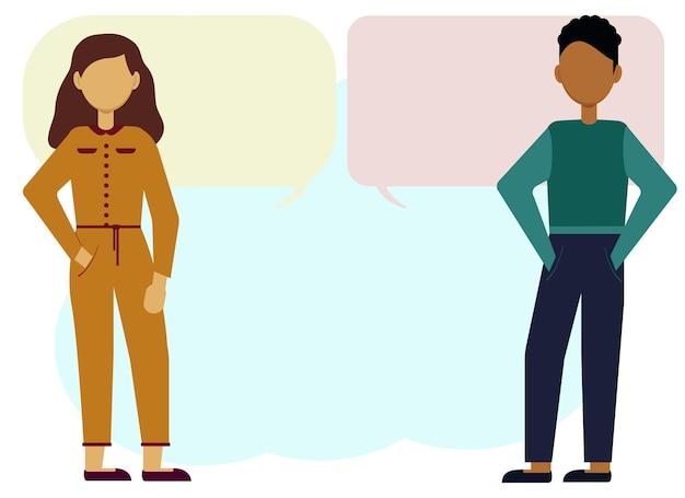 Ilustração em vetor de um homem e uma mulher liderando um diálogo. bolhas para texto