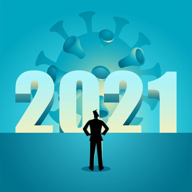 Ilustração em vetor de um homem em frente ao ano de 2021 com um vírus à espreita