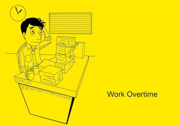 Ilustração em vetor de um homem trabalhando horas extras, desenho de desenho animado