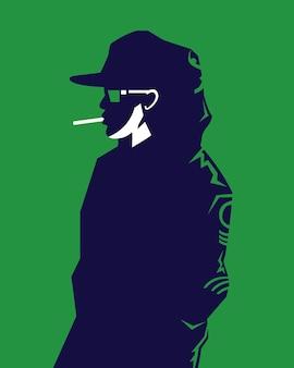 Ilustração em vetor de um homem vestindo uma jaqueta com capuz e chapéu em um estilo moderno fumando