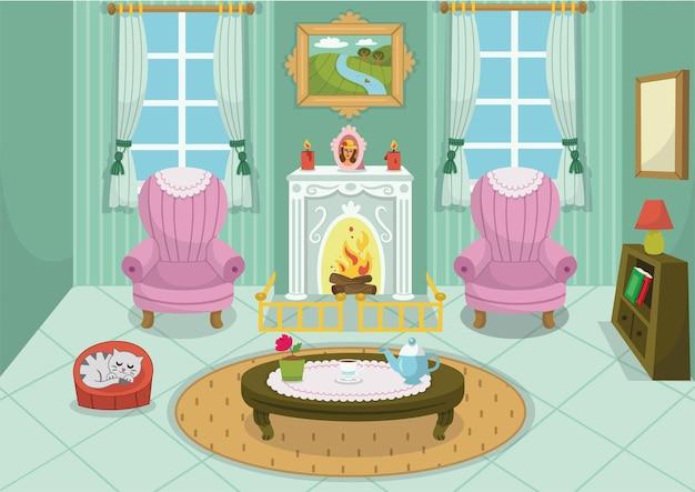 Ilustração em vetor de um interior de desenho animado com lareira, móveis para animais de estimação e janelas