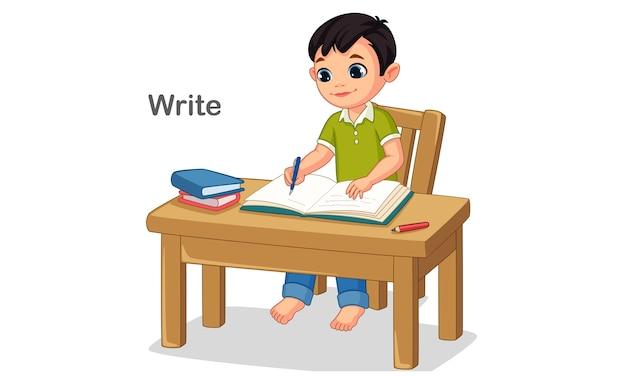 Ilustração em vetor de um menino escrevendo em um livro