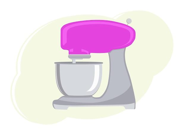Ilustração em vetor de um misturador elétrico de cozinha. misturador rosa contemporâneo