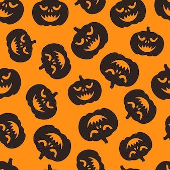 Ilustração em vetor de um padrão de abóbora enfrenta desenho infinito para o feriado de halloween