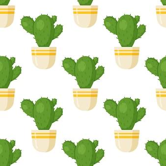 Ilustração em vetor de um padrão de cactos redondos. imagem perfeita de cactos em um vaso marrom. aconchegante, verde. desenho padrão decorativo sem costura com cactos.