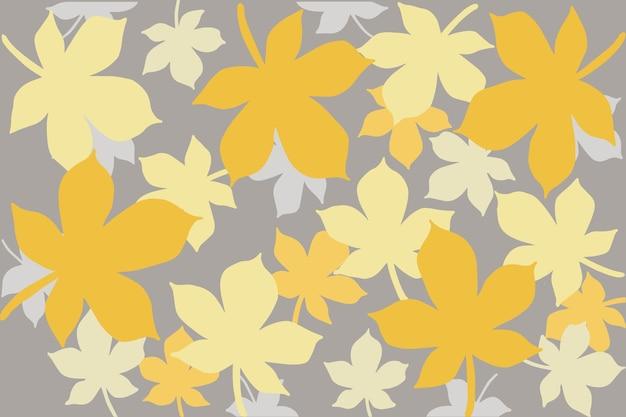 Ilustração em vetor de um padrão de folhas amarelas e cinza em um fundo branco