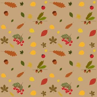 Ilustração em vetor de um padrão de outono com folhagem de outono, sorveira, bolota e joaninha