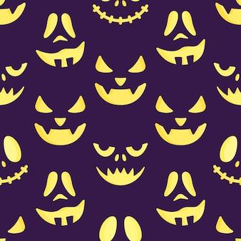 Ilustração em vetor de um padrão de rostos assustadores. desenho perfeito. impressão de férias de halloween.